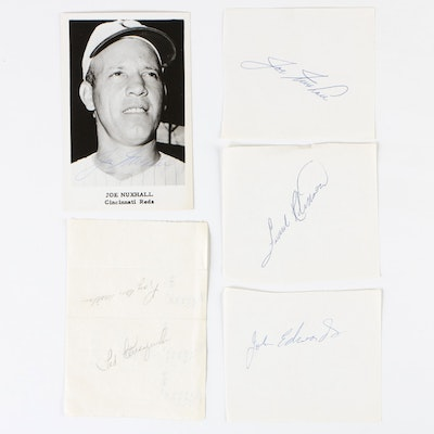 Frank Robinson, Ted Kluszewski, and Joe Nuxhall Reds Autograph Cuts, Vintage