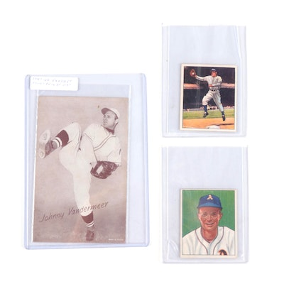 1947 Johnny Vander Meer Exhibit with 1950s Bowman Baseball Cards, Vintage