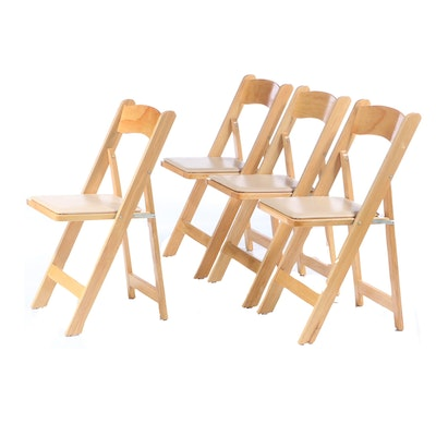 Wooden Vinyl Upoholstered Folding Chairs, Mid to Late 20th Century