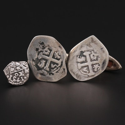 Sterling Silver Cufflinks with Reproduction Spanish Colonial Silver Cob Coins