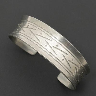Jorgen Jensen Danish Mid Century Modern Pewter Cuff Bracelet