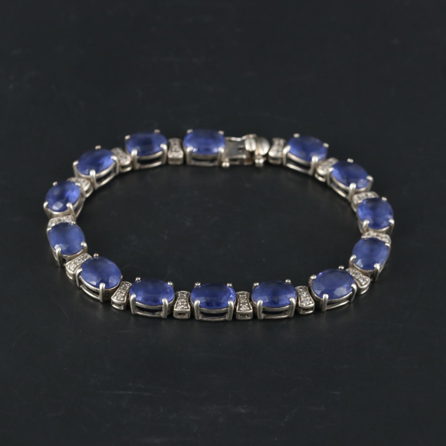 Sterling Silver Glass and Cubic Zirconia Bracelet