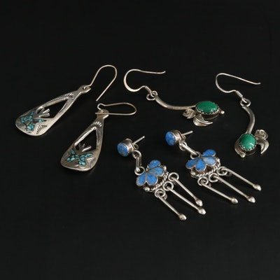 Southwestern Style Sterling Silver Earrings, Featuring Bernadette Hattie, Zuni