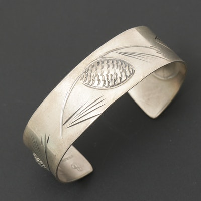 Stuart Nye Sterling Silver Pine Cone Cuff Bracelet