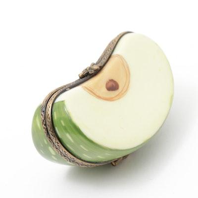 """Hand-Painted Porcelain """"Apple Slice"""" Limoges Trinket Box"""