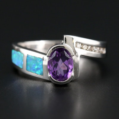 14K White Gold Amethyst, Opal and Diamond Ring