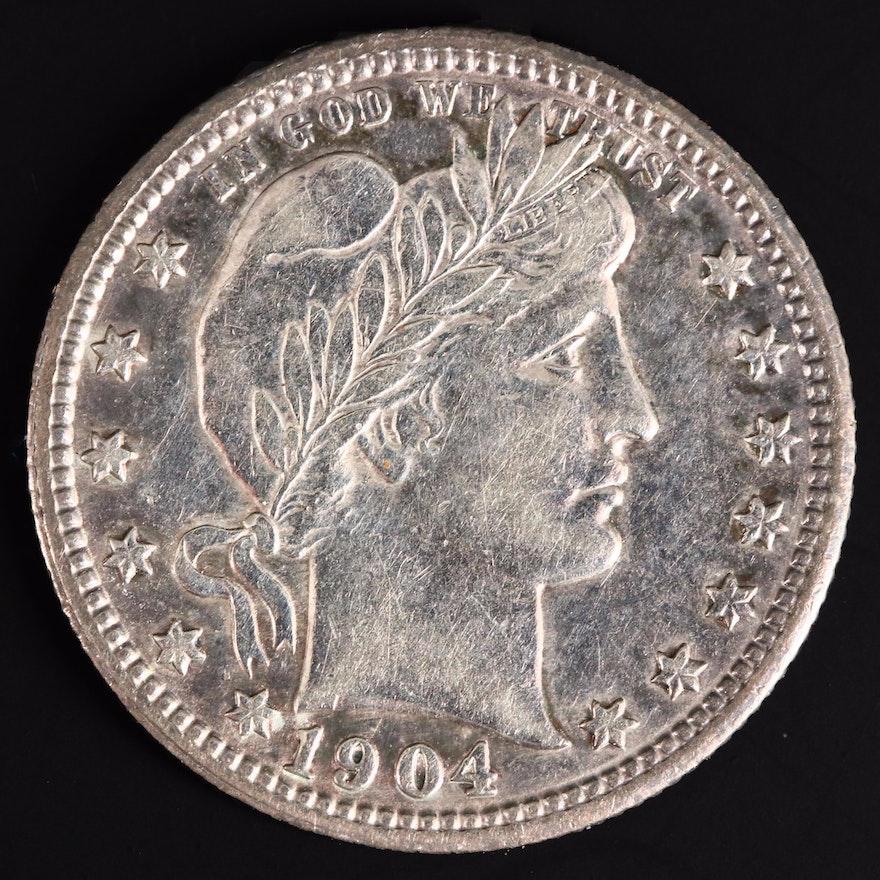 1904 Silver Barber Quarter