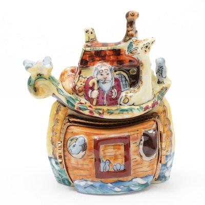 """La Gloriette Hand-Painted Porcelain """"Noah's Ark"""" Limoges Trinket Box"""