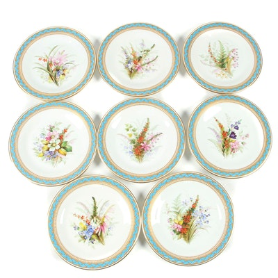 Royal Worcester Porcelain Luncheon Plates with Gilded Blue Laurel Trim, 1950