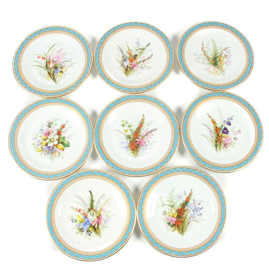 Royal Worcester Porcelain Luncheon Plates with Gilded Blue Laurel Trim, 1950