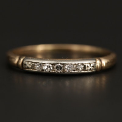 Vintage 14K Yellow Gold Diamond Band With 18K White Gold Accent