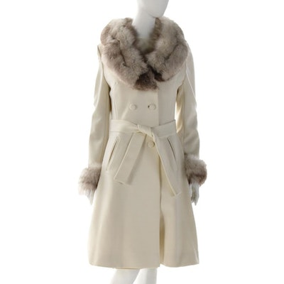 Lilli Ann Dress Suit with Fox Fur Collar and Cuffs, 1960s Vintage