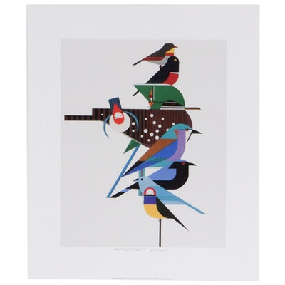 "Offset Lithograph After Charley Harper ""Rainforest Birds,"" 2017"