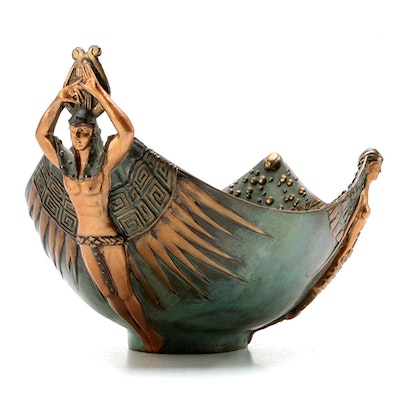 "Erté ""Apollo"" Limited Edition Patinated Bronze Bowl, 1989"
