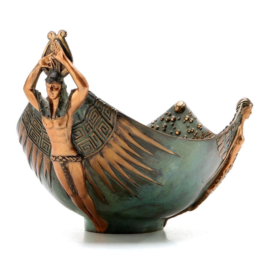 "Erté ""Apollo"" Limited Edition Patinated Bronze Bowl, 1989"