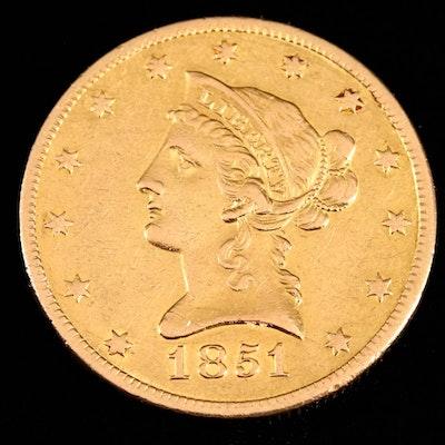 1851-O Liberty Head $10 Gold Coin