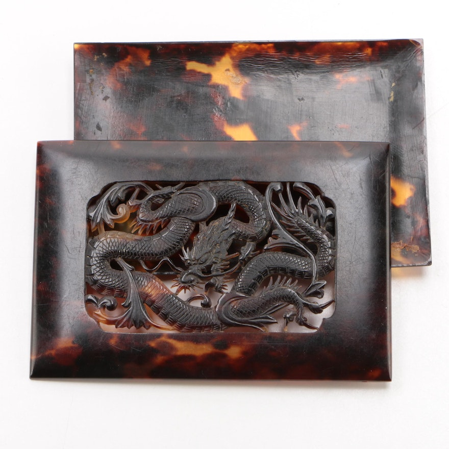 Chinese Carved Tortoiseshell Card Case Cover, Late 19th/ Early 20th Century