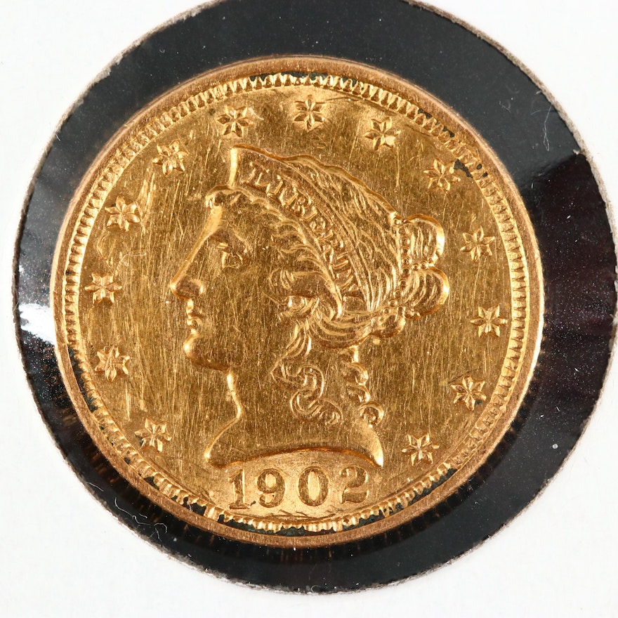 1902 Liberty Head $2  1/2 Gold Coin