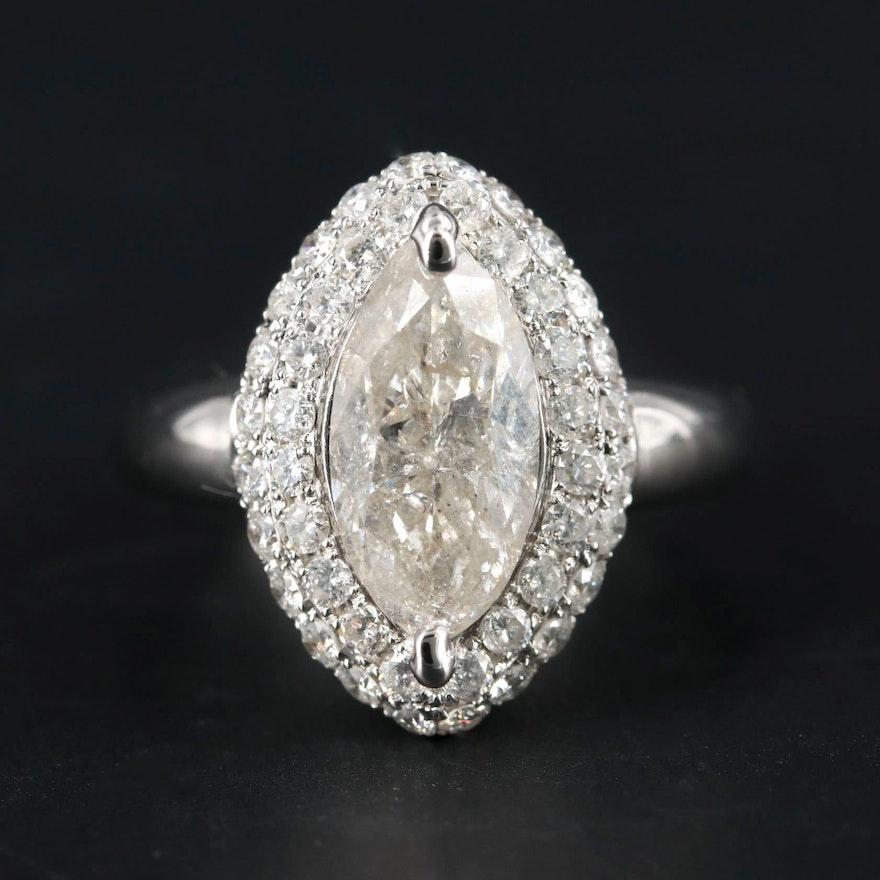 14K White Gold 3.35 CTW Diamond Ring