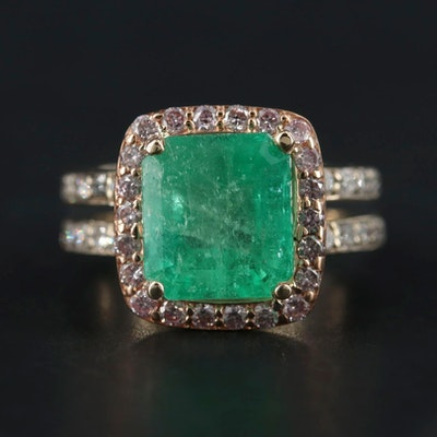18K Gold 4.20 CT Emerald and 1.13 CTW Diamond Ring