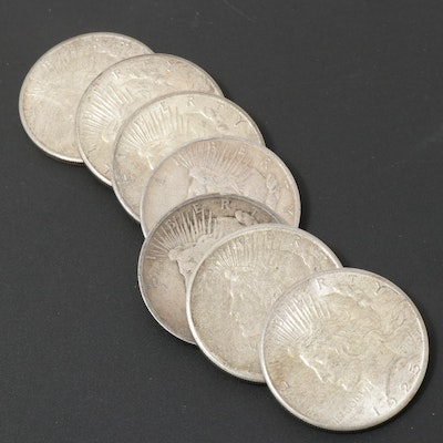 Seven Peace Silver Dollars