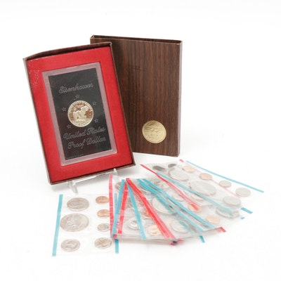 United States Mint Uncirculated Sets and 1974-S Eisenhower Proof Silver Dollar
