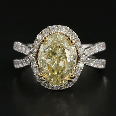 18K White Gold 4.24 CTW Diamond Ring with GIA Report and Yellow Gold Accents