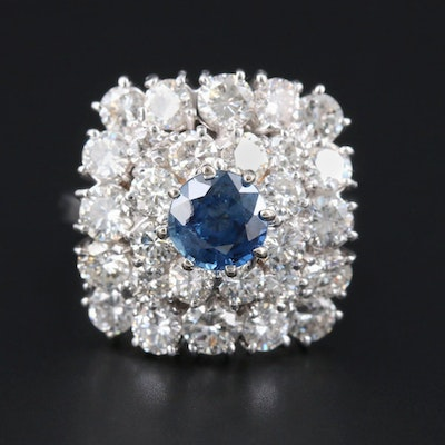 18K White Gold Sapphire and 3.00 CTW Diamond Cluster Ring