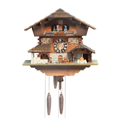 Chalet Cuckoo Clock with Cuendet Swiss Musical Movement, Late 20th Century