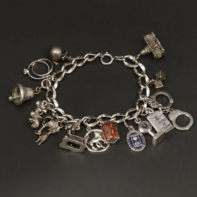 Sterling Silver Charm Bracelet Featuring Danecraft and Enamel