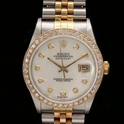 Rolex Datejust 18K Gold and Stainless Steel 1.35 CTW Diamond Wristwatch, 1986