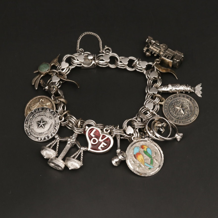 Sterling Silver Glass and Enamel Charm Bracelet