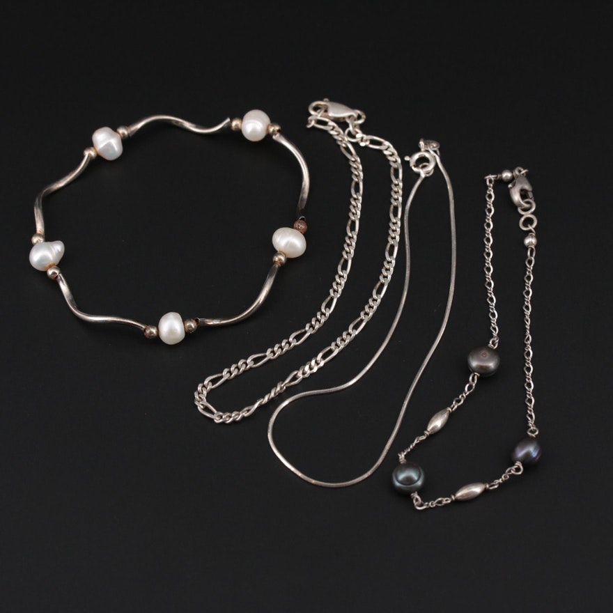 Sterling Silver Bracelets With Figaro and Snake Chain and Cultured Pearl