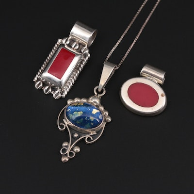 Mexican Sterling Silver Coral and Glass Necklace and Pendants