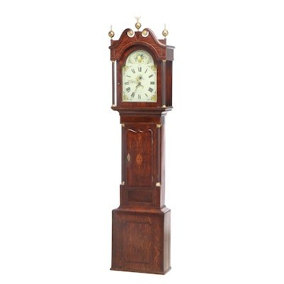 George Ellis, Mahogany-Crossbanded Oak and Marquetry Longcase Clock, circa 1840