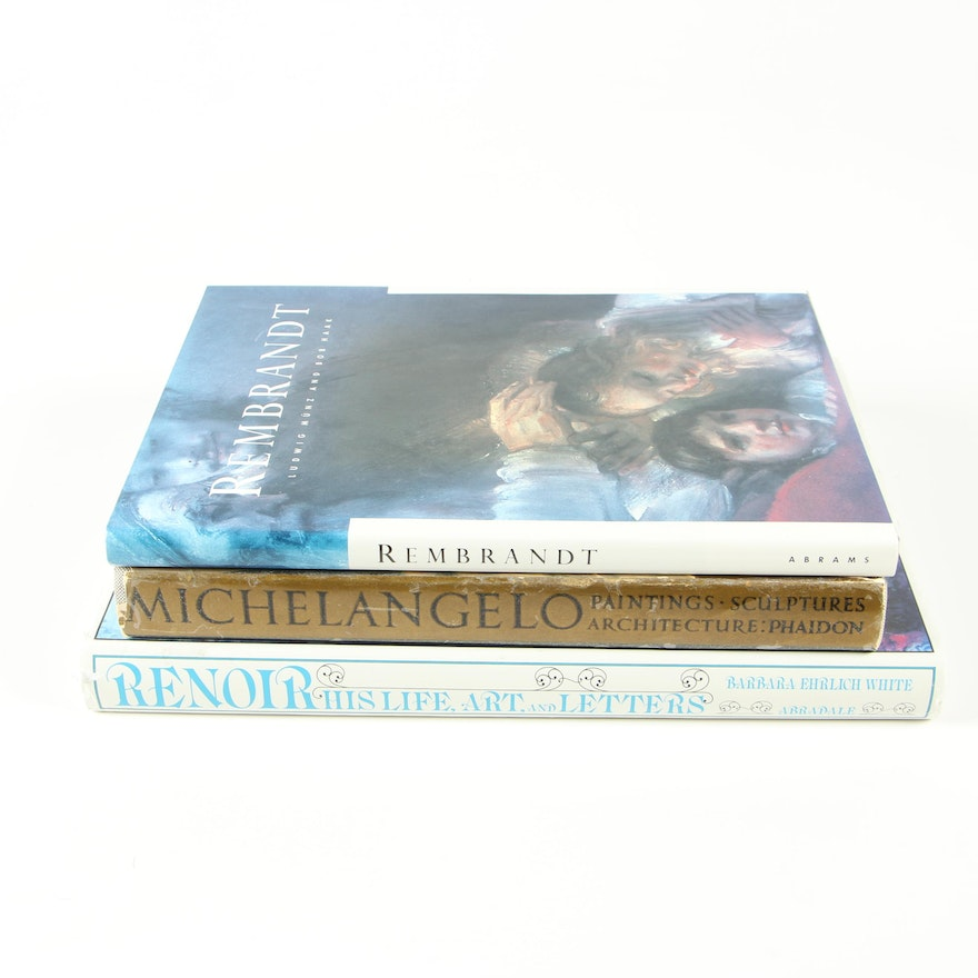 Renowned Artist Books featuring Rembrandt, Renoir and Michelangelo