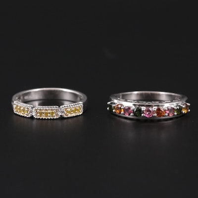 Sterling Silver Diamond and Cubic Zirconia Rings