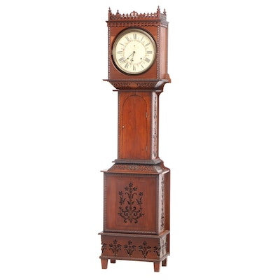 Seth Thomas, Fret-Carved Walnut Tall Case Clock, Late 19th/Early 20th Century
