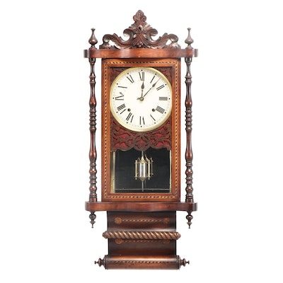 English Marquetry Wall Clock, Late 19th Century