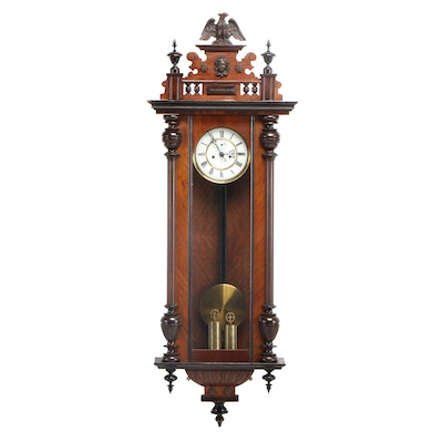 Gustav Becker, Walnut Regulator Wall Clock, Late 19th/Early 20th Century