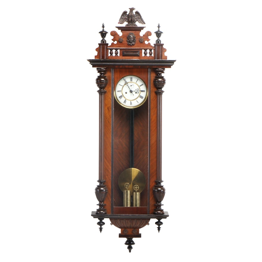 Gustav Becker, Walnut Regulator Wall Clock, Late 19th/Early 20th Century