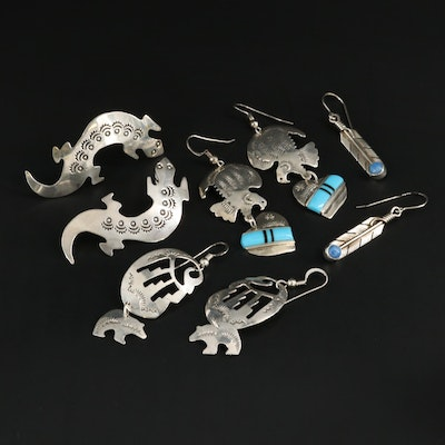 Sterling Silver Turquoise Earrings Featuring Lena Platero, Navajo Diné