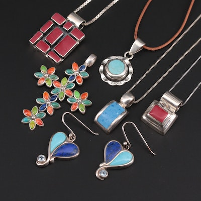 Mexican Sterling Silver Necklace and Earrings With Lapis, Gaspeite and Turquoise