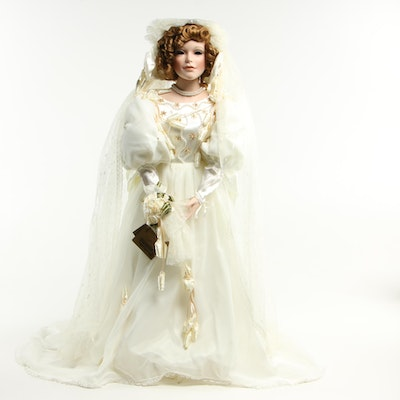 "29"" Seymour Mann ""Claudine"" Porcelain Bride Doll, Limited Edition With Box"