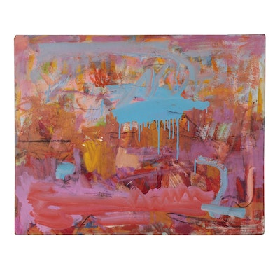 Paul Chidlaw Abstract Expressionist Mixed Media Painting