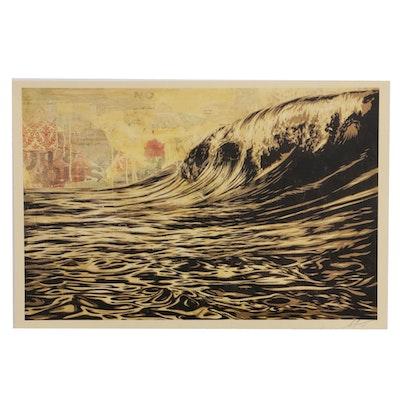 """Shepard Fairey Offset Poster """"Dark Wave,"""" 2019"""