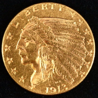 1913 Indian Head $2.50 Gold Quarter Eagle