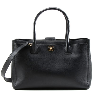 Chanel Black Leather Cerf Tote and Box