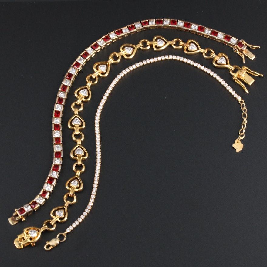 Sterling Silver Cubic Zirconia Line Bracelets