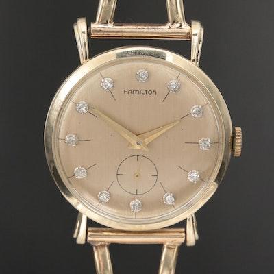 """Hamilton """"Bradford B"""" 14K Gold and Diamond Stem Wind Wristwatch"""